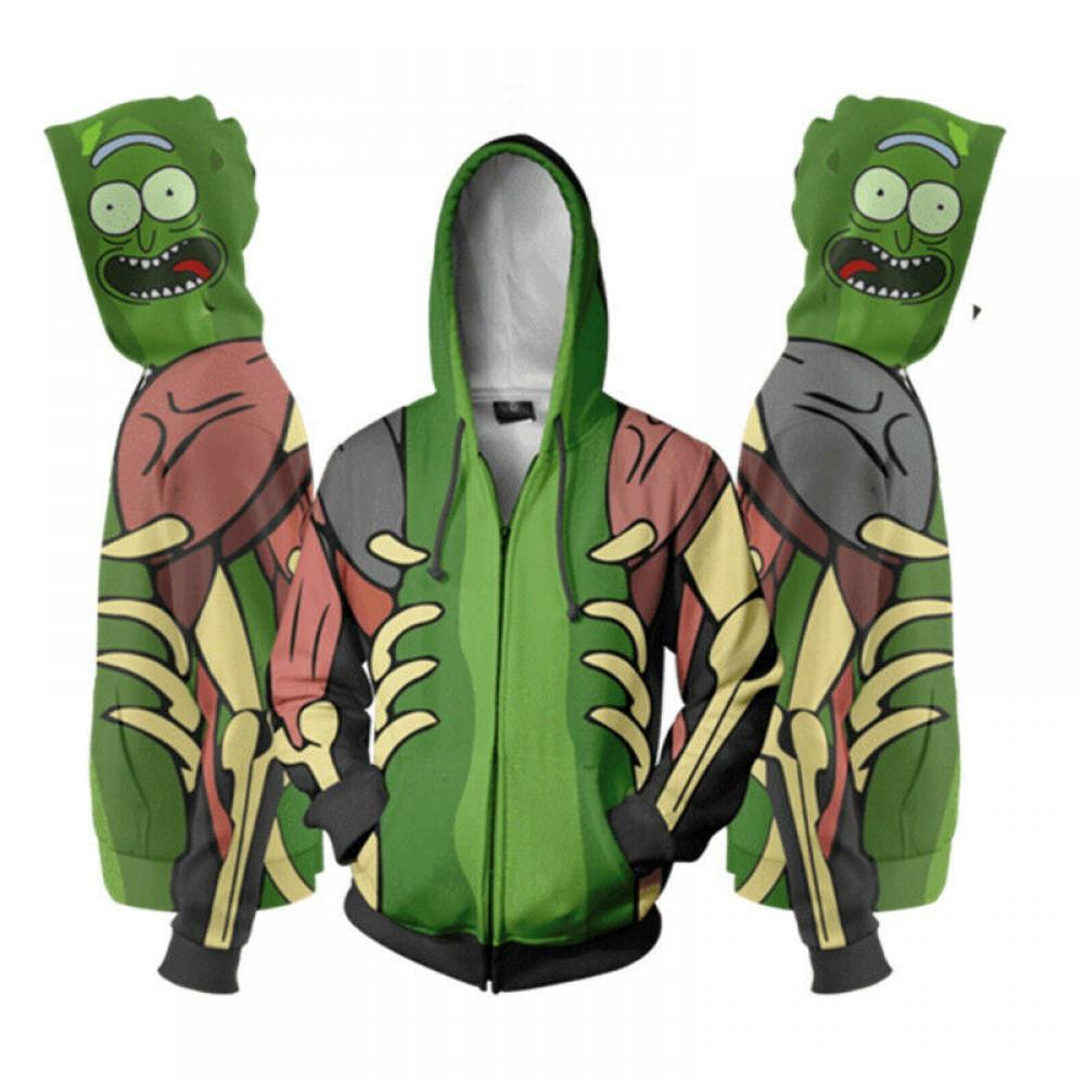 Rick And Morty Rick zelená tvár Mikina na zips