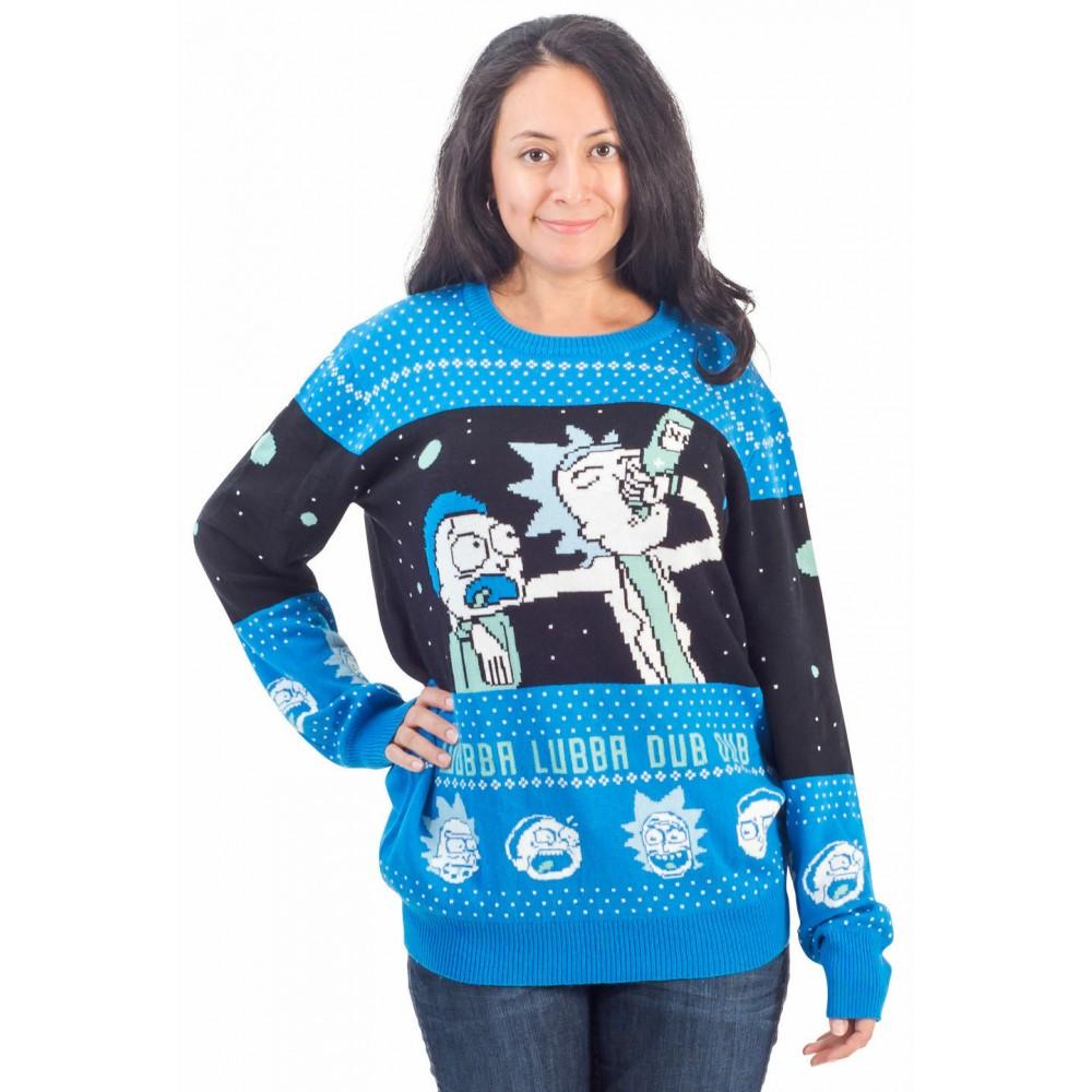 Rick And Morty Alien Wubba Lubba Spaceship Vianočný sveter